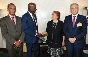 (From left to right) Minister of Foreign and CARICOM Affairs, Senator Dennis Moses, Prime Minister Dr the Honourable Keith Rowley, President of Chile, H.E Michelle Bachelet Jeria and Mr. Heraldo Muñoz Valenzuela, Chilean politician, diplomat a