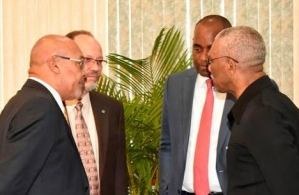 (L-R): President of Suriname, Desi Bouterse; CARICOM Secretary General, Irwin LaRocque; Prime Minister of Dominica, Roosevelt Skerrit; and President of Guyana, David Granger