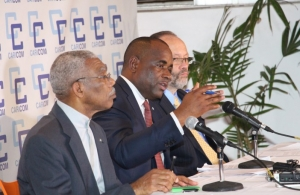 Chairman of the Community and Prime Minister of Dominica, the Hon. Roosevelt Skerrit, at the press conference at the end of the 37th CARICOM Heads of Government Meeting. Flanking the Chairman are, left co-host and President of Guyana His Excellency B