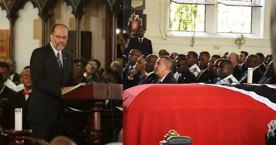 CARICOM Secretary-General Ambassador Irwin LaRocque addresses the state funeral for the former Prime Minister of Trinidad and Tobago, Mr. Patrick Manning