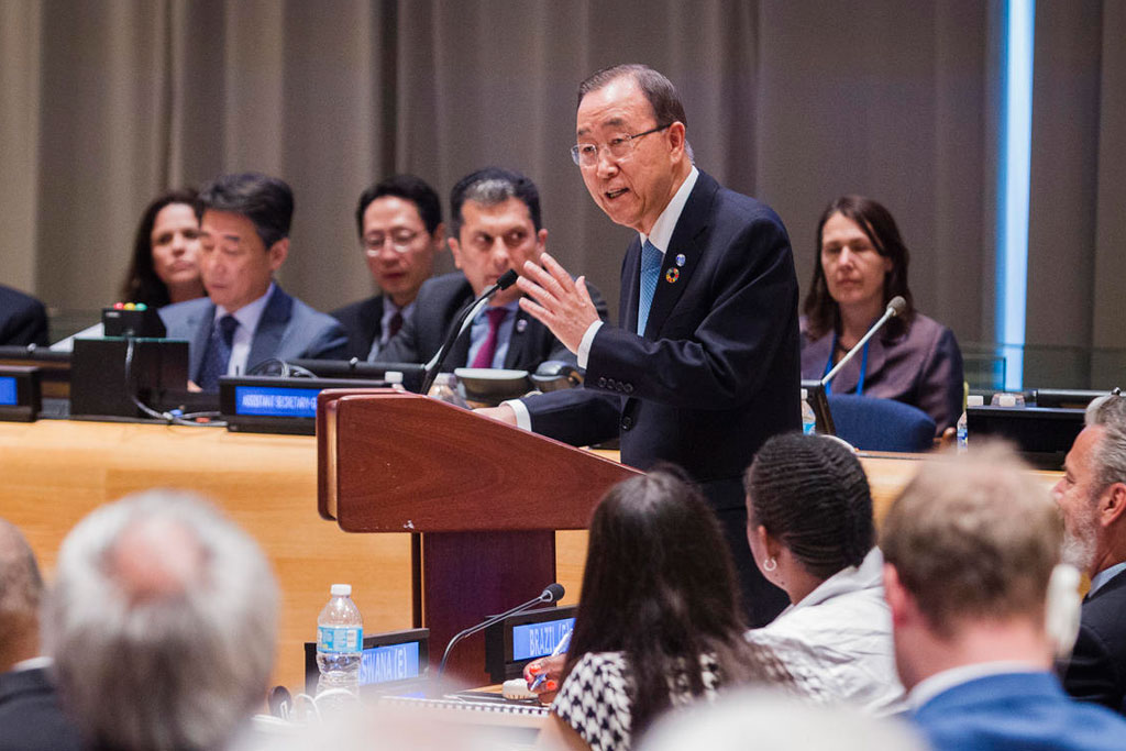 Secretary-General Ban Ki-moon addresses the Ministerial Segment of the ECOSOC High-level Political Forum on Sustainable Development. UN Photo/Manuel Elias