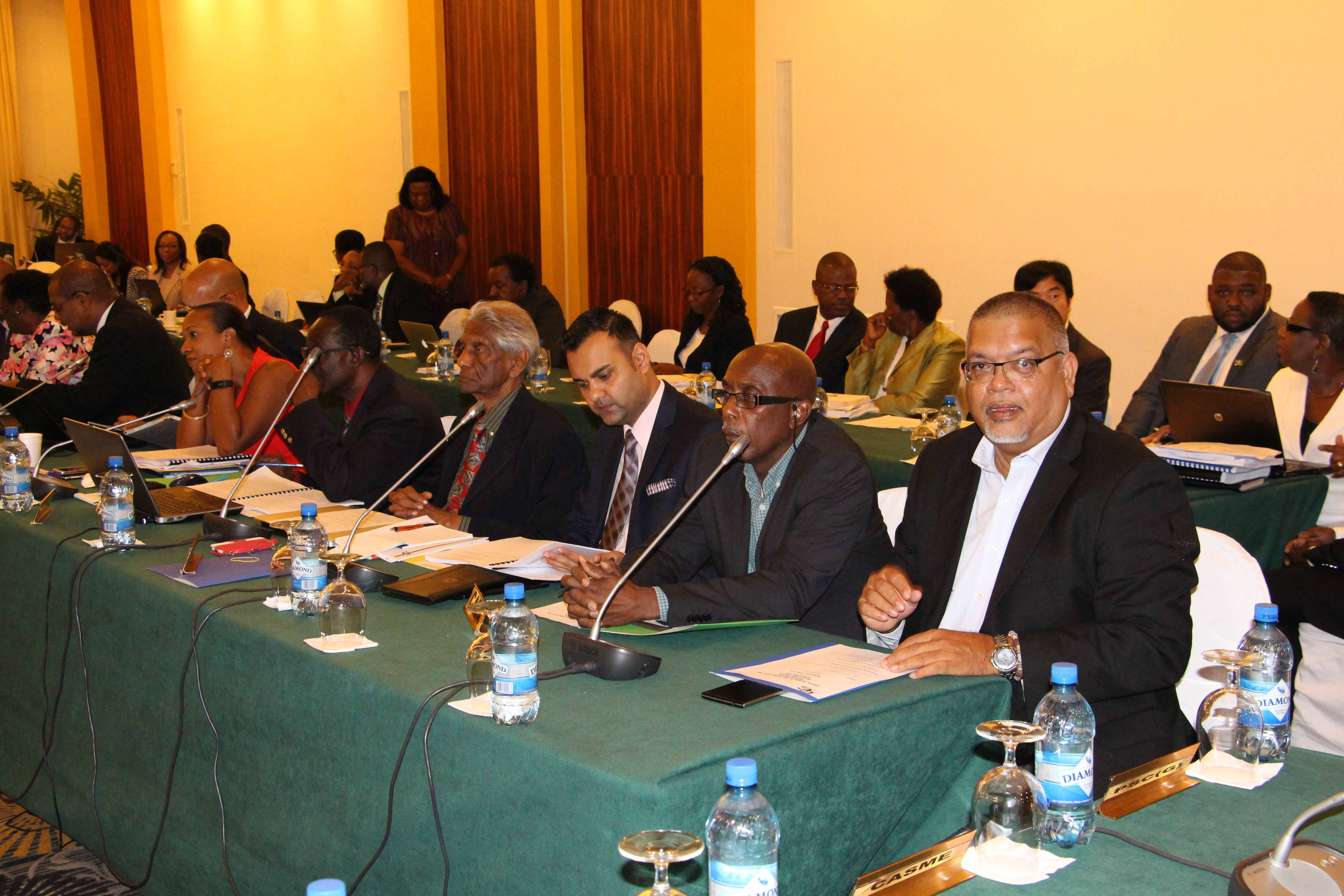 Mr. Ramesh Dookhoo (right) at a Council fo Trade and Economic Development (COTED) Meeting which convened a special session with the Region's private secto