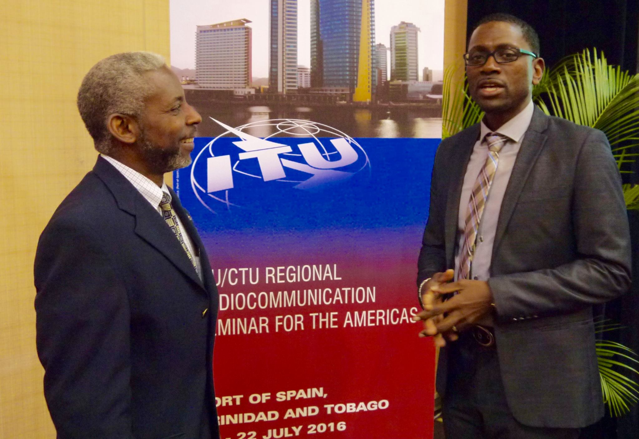 Nigel Cassimire, Acting Secretary General, Caribbean Telecommunications Union, left, and Cleveland Thomas, ITU Area Representative for the Caribbean at International Telecommunication Union, at the Regional Radiocommunication Seminar for the Americas