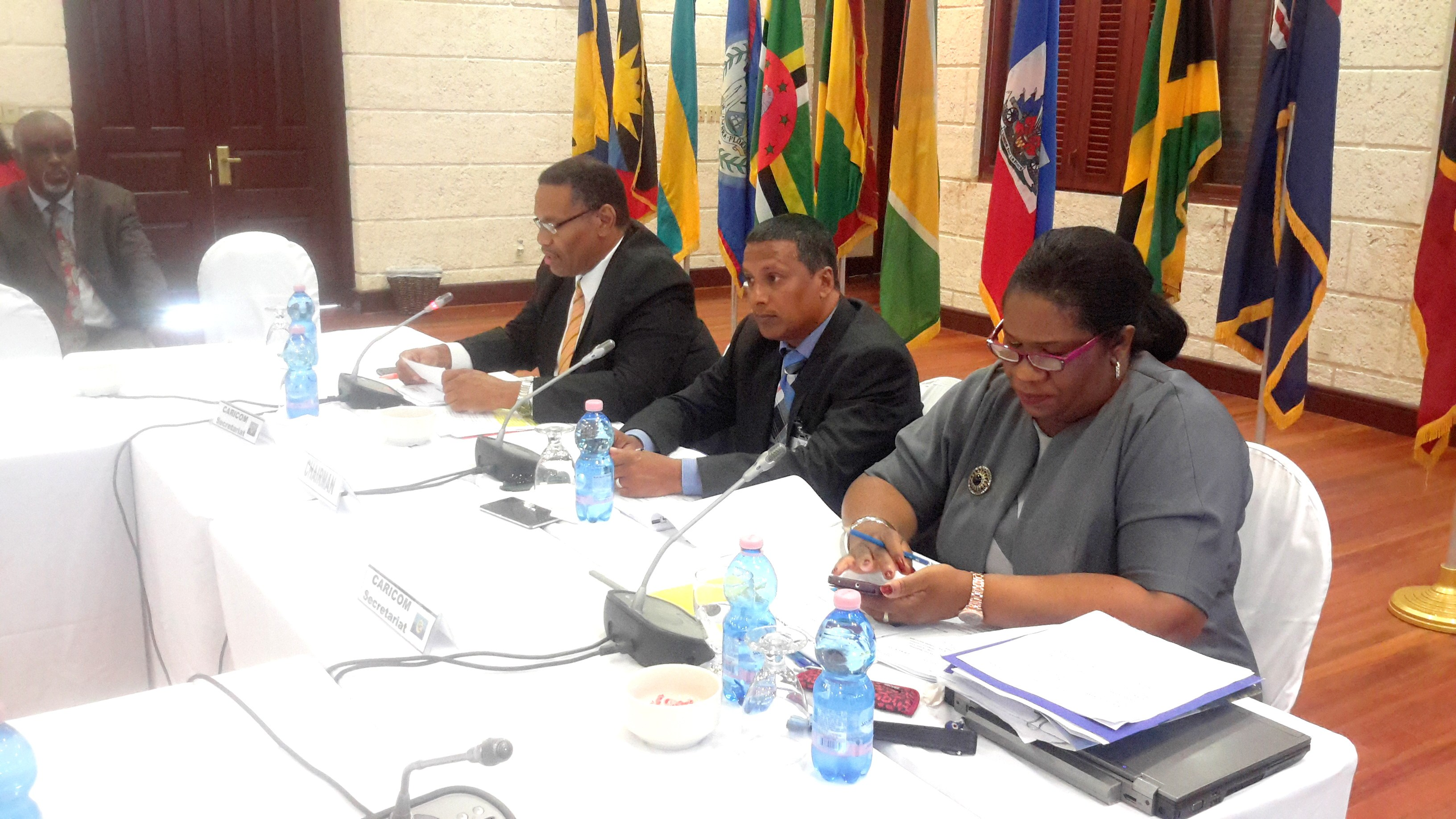 From left, ASG, Trade and Economic Integration, Mr. Joseph Cox, Chair of the Meeting, Minister Guy Joseph and Deputy Programme Manager, ICT4D, CARICOM Secretariat, Ms. Jennifer Britton