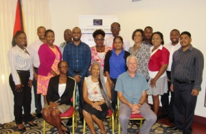 Above: Participants at the workshop with trainer, Dr. Taimoon Stewart (front centre) and Mr. Patrick Martens of Equinoccio (front right)