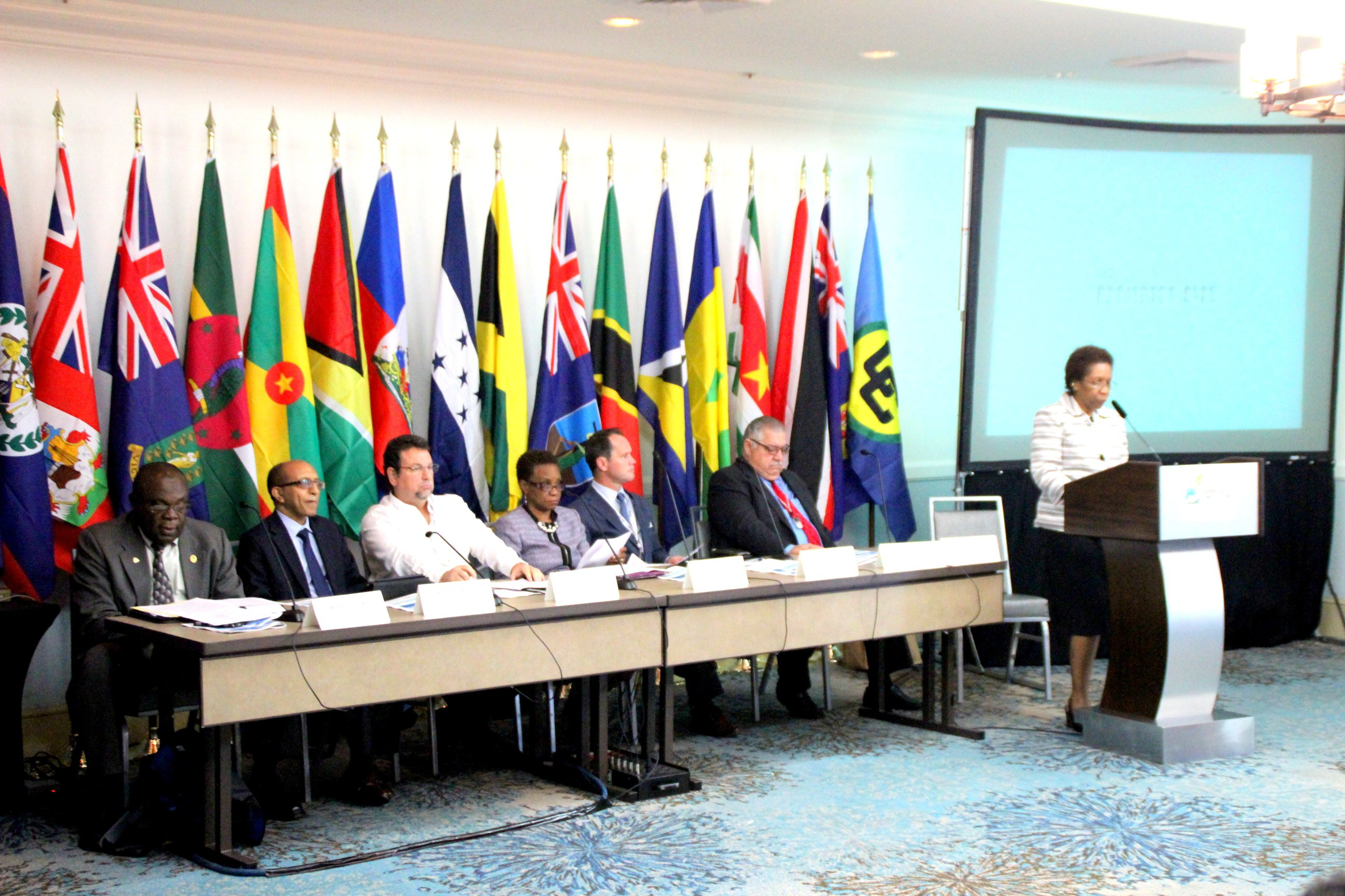 Ms. Desiree Field-Ridley, of the CARICOM Secretariat chairs the opening plenary of the CWA. (Photos by Avneel Abhishay, Social Media Reporter, CTA)