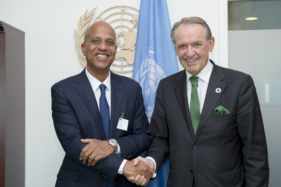 Belize PM Hon. Dean Barrow (left) with UN Dep. Secretary-General after signing