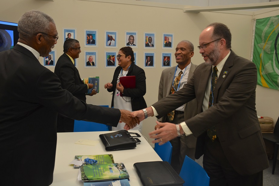 President David Granger and Ambassador Irwin LaRocque share a hand shake following their meeting today in Morocco.