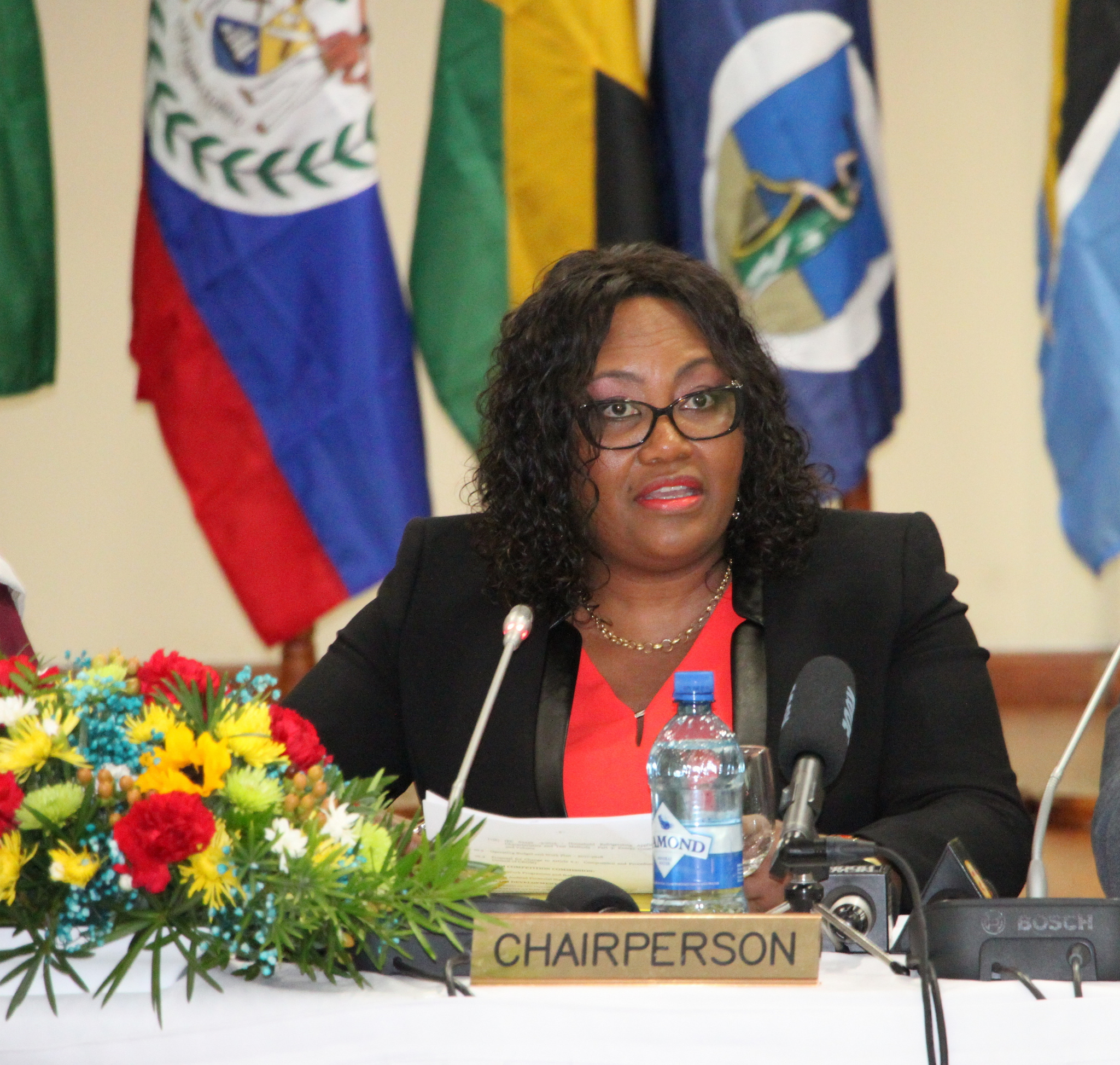 Chair of the 43rd Meeting of the Council for Trade and Economic Development (COTED), Her Excellency Sieglien Burleson, Minister of Trade and Industry of Suriname, addresses the opening ceremony on Thursday 17 November, 2016, at the Ramada Princess Ho