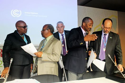 Exchanges ahead of the Ministerial session (from left) – Dr. Gale Rigobert, St. Lucia's Minister of Sustainable Development; Dr. Kenrick Leslie, Executive Director, Caribbean Community Climate Change Centre; Prime Minister Mr. Allen Chast