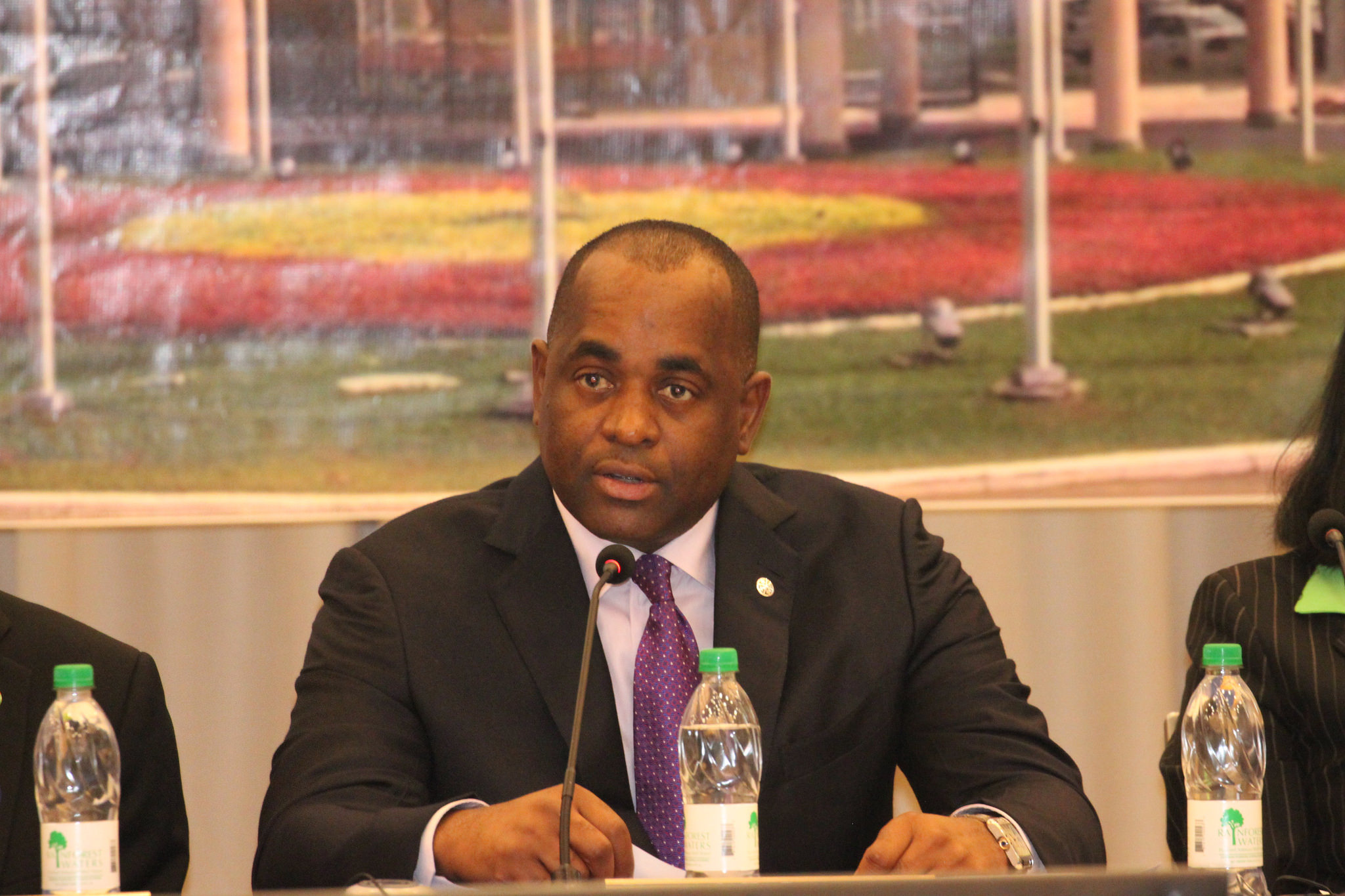 Outgoing CARICOM Chairman, Prime Minister Roosevelt Skerrit of Dominica addresses the Opening Ceremony of the 28th CARICOM Inter-Sessional meeting, in Georgetown