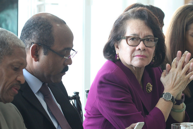 L-r: Dr. Douglas Slater, Assistant Secretary-General for Human and Social Development, Prime Minister Gaston Browne, and Guyana's First Lady, Ms. Sandra Granger