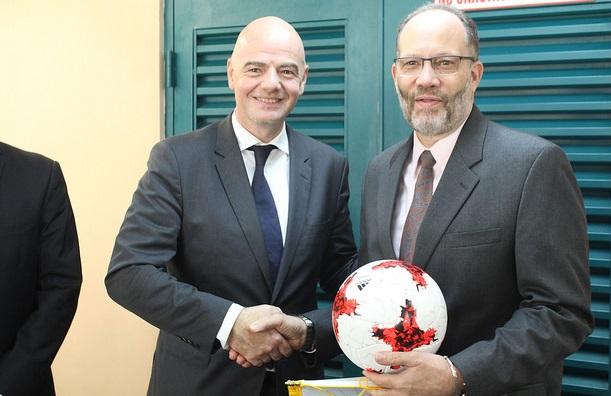 (L-R) FIFA's President Mr Giovanni Infantino and CARICOM SG, Amb. Irwin LaRocque
