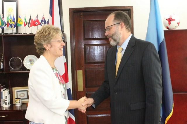 Secretary-General Ambassador Irwin LaRocque welcomes UK High Commissioner Ms Janet Douglas