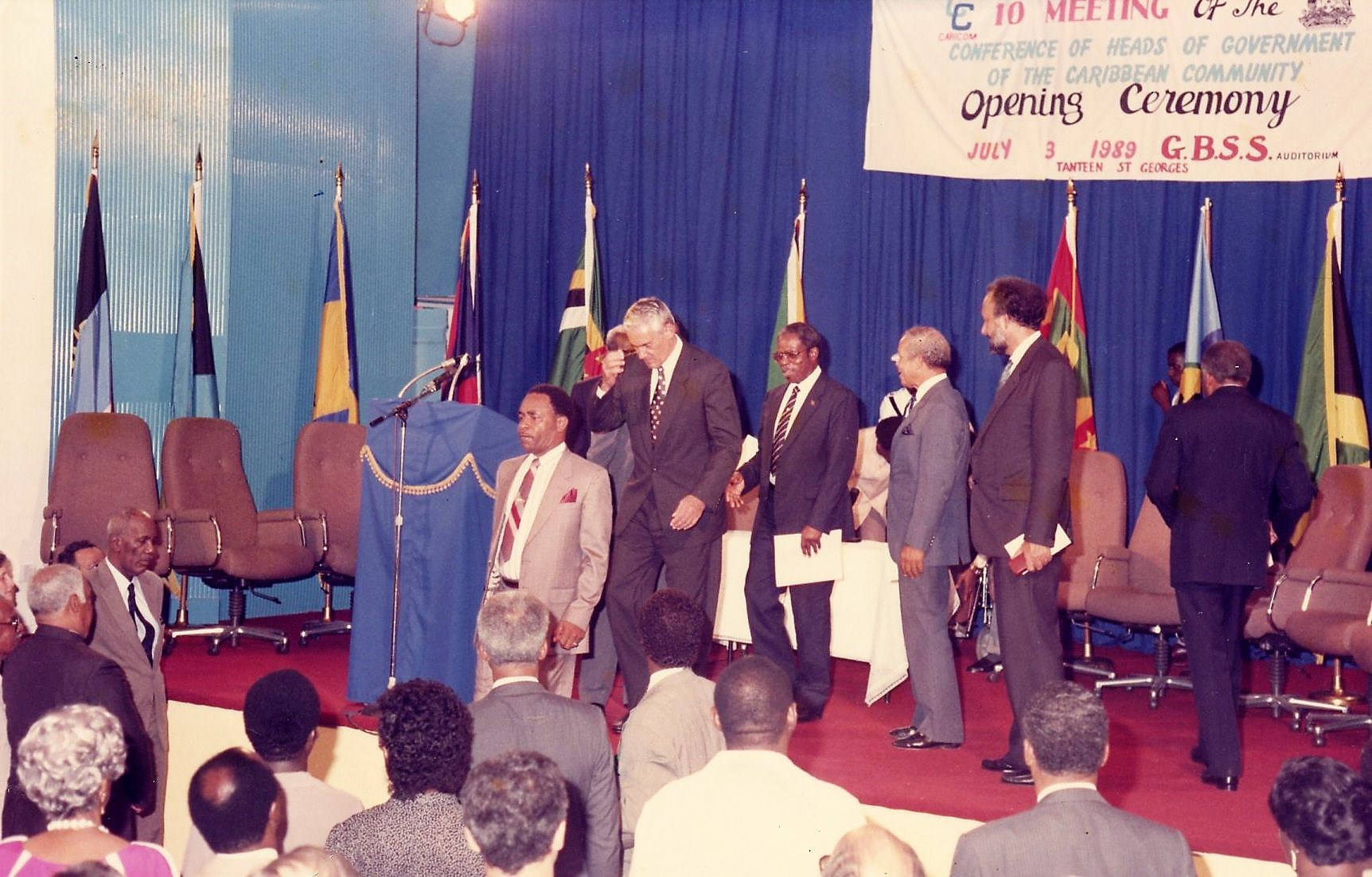 CARICOM Heads of Government leave the stage at the conclusion of the Opening Ceremony of the Conference of Heads of Government in Grenada, 1989