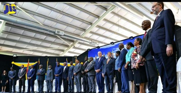 Prime Minister, the Most Hon. Andrew Holness (10th left) and other regional leaders at the opening ceremony of the 38th Regular Meeting of Heads of Government of CARICOM at the Grenada Trade Centre, Grand Anse, St. George's, on July 4. (Photo v