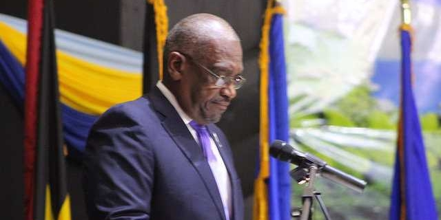 : Newest member of the Conference of Heads of Government of CARICOM, Dr. The Honourable Hubert Minnis, Prime Minister of The Bahamas delivering his inaugural address to the Conference, Tuesday 4 July 2017, Grand Anse, Grenada.
