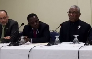 Prime Minister of Grenada, Dr. the Rt. Hon. Keith Mitchell (second from left) announcing the approval of the ICT Integrated Work Plan and Budget. Also in photograph are, from left, CARICOM Secretary-General, Ambassador Irwin LaRocque, President of Gu