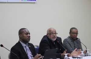 Minister of Education, St. Kitts and Nevis, Hon. Shawn Richards, Director General, of the Organisation of Eastern Caribbean States H.E. Dr. Didacus Jules, and Director, Human Development at the CARICOM Secretariat, Ms. Myrna Bernard, participate in d