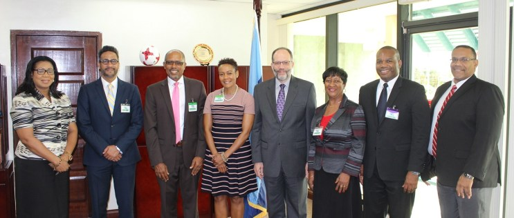 In photo (from left) Ms Evelyn Wayne, Director Economic Policy and Development, CARICOM Secretariat; Mr. Richard Sammy, Director, CAB; Mr. Rolf Phillips, Director, CAB; Ms Joanna Charles, Chairperson of CAB Board of Directors; CARICOM Secretary-Gener