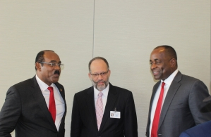 PM Gaston Browne of Antigua and Barbuda, Amb. IrwinLaRocque, CARICOM SG, PM Roosevelt Skerrit of Dominica