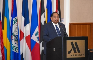 Prime Minister Moses Nagamootoo today at the opening of the two-day CANSEC Conference at the Guyana Marriot hotel.  Addressing the opening of the 16th annual Caribbean Nations Security Conference (CANSEC), being held for the first time in Guyana at t