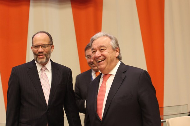 CARICOM Secretary-General Amb. Irwin LaRocque (l) at the CARICOM-UN High Level Conference with the UN Secretary General Antonio Guterres (r) and Head of UNDP Achim Steiner