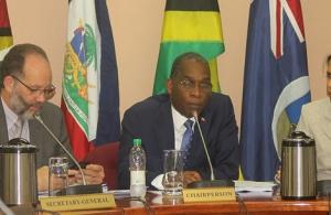 (l-r) Ambassador Irwin LaRocque; Foreign Minister of Haiti Antonio Rodrigue. Deputy Secretary-General Ambassador Manorma Soeknandan