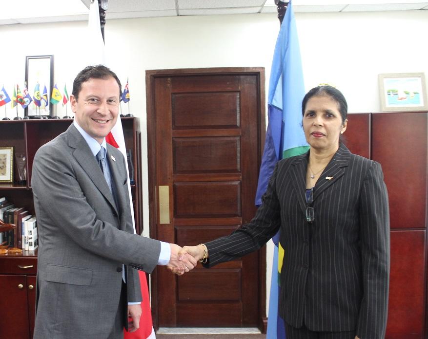 DSG Ambassador Manorma Soeknandan welcomes new Ambassador of Georgia HE David Solomonia