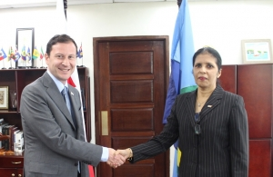 DSG Ambassador Manorma Soeknandan welcomes new Ambassador of Georgia HE David Solomonia