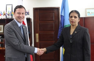 CARICOM Deputy Secretary-General Ambassador Manorma Soeknandan welcomes new Ambassador of Georgia to CARICOM HE David Solomonia