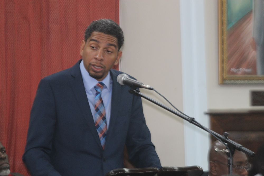 Minister of Finance Camillo Gonsalves speaking in Parliament on Monday, during the delivery of the 2018 budget address