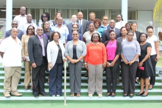 Representatives from from 13 of CDEMA's 18 Participating States met at CDB to discuss the new guidelines and procedures