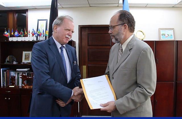 CARICOM Secretary-General Ambassador Irwin LaRocque  receives the credentials  of Germany's new  Ambassador to CARICOM, His Excellency Holger Michael