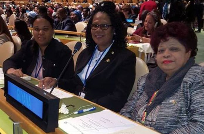 Guyana's delegation – (From right) Minister Amna Ally, Karen Vansluytman, Assistant Chief Labour Officer (ACLO) and ministerial adviser Alicia Reece. (Photo via Guyana Chronicle)