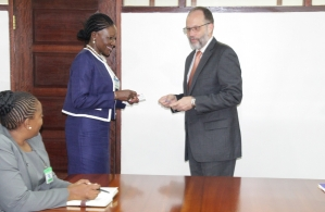 Amb. Irwin LaRocque welcomes Executive Director of SACU Ms. Paulina Elago