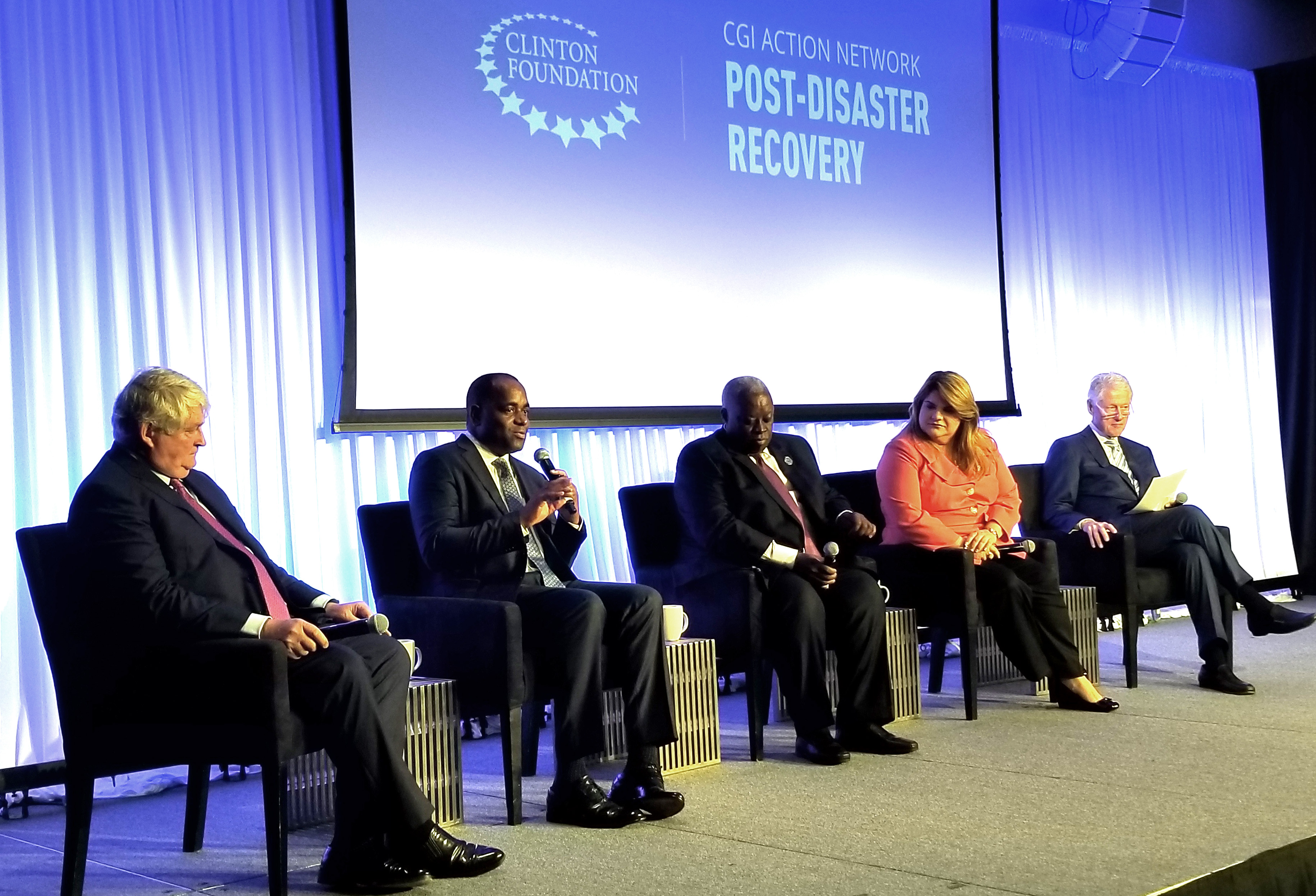 Prime Minister Roosevelt Skerrit of Dominica presents during the Opening Panel Discussion