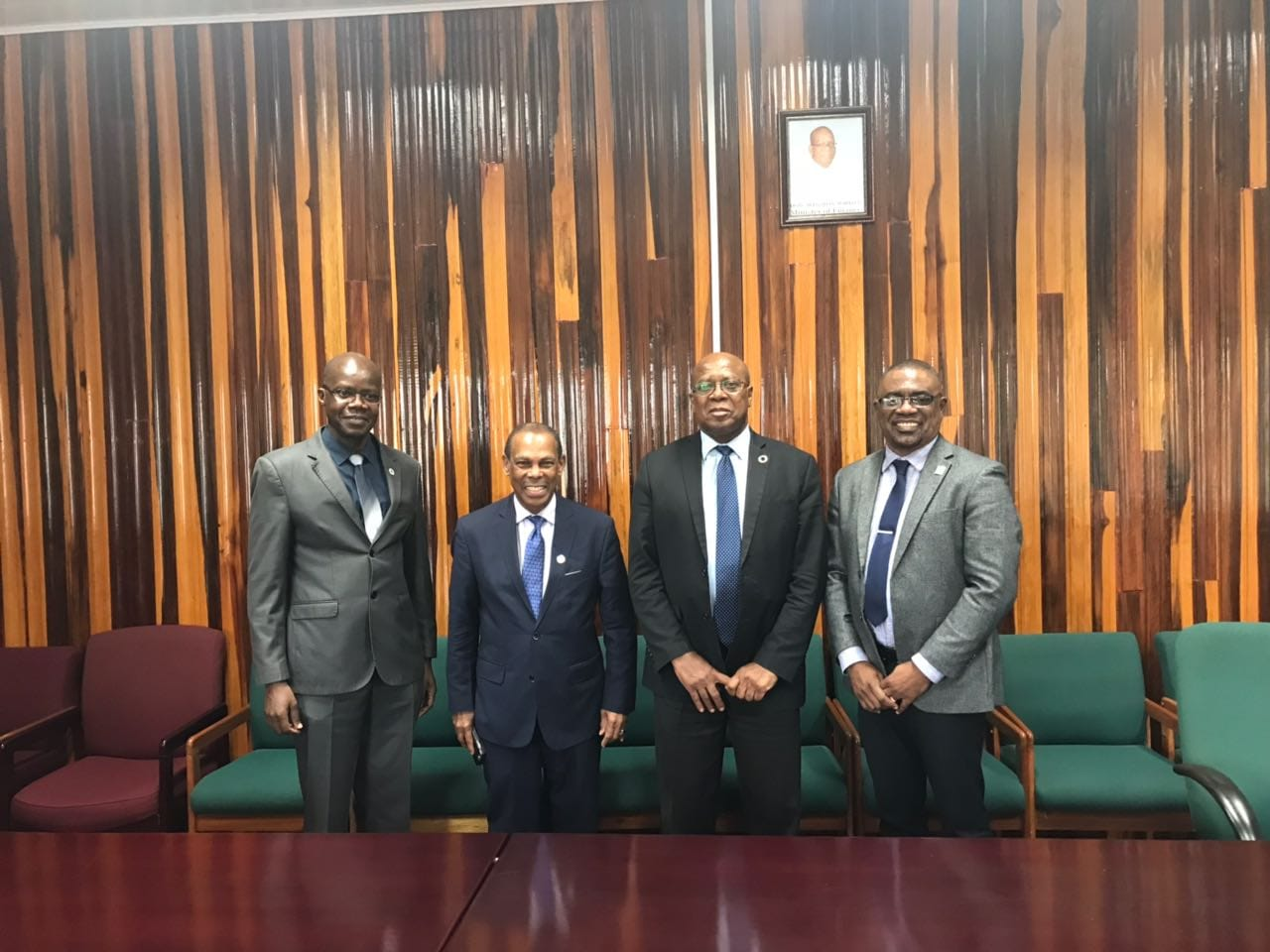 L-R: Dr Martin Oditt, UNAIDS Country Director, Dr Edward Greene PANCAP Advisor, Dr Hector Butts, Finance Secretary Ministry of Finance – Guyana and Mr Dereck Springer Director of PANCAP.