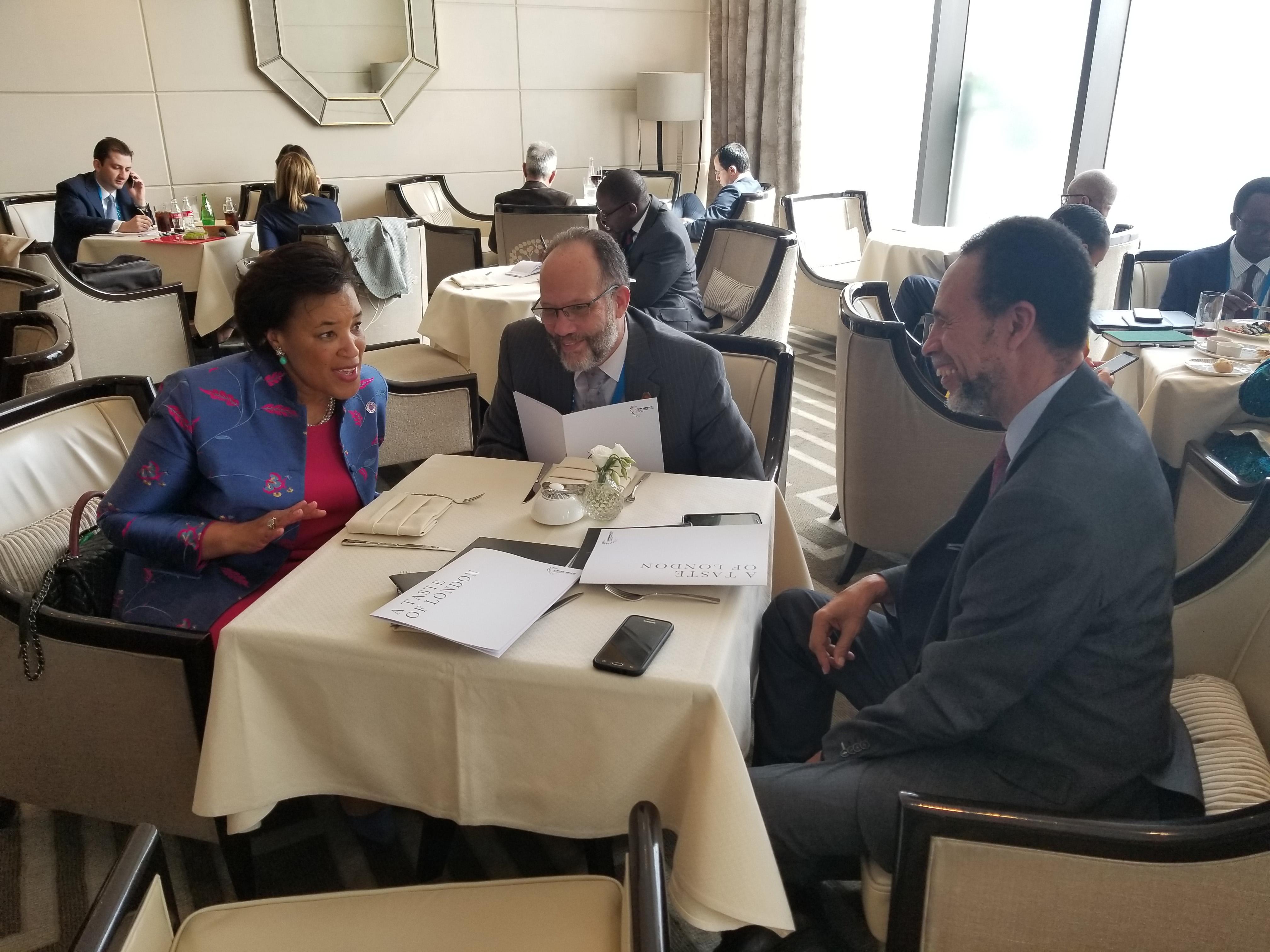 (l-r) Baroness Patricia Scotland, Ambassador irwin LaRocque, Ambassador Colin Granderson