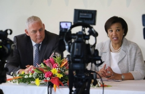 Saint Lucia Prime Minister, the Hon. Allen Chastanet and Commonwealth Secretary-General Baroness Patricia Scotland at a press conference on Thursday (Photo via PM Chastanet Facebooacebook