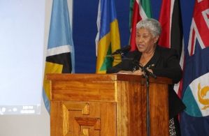 Chairman of the Council on Human and Social Development (COHSOD) and Minister of Education, Science and Culture of Suriname, the Hon. Lilian Ferrier speaking at the opening ceremony of the Thirty-Fourth COHSOD at the Theatre Guild Playhouse in George