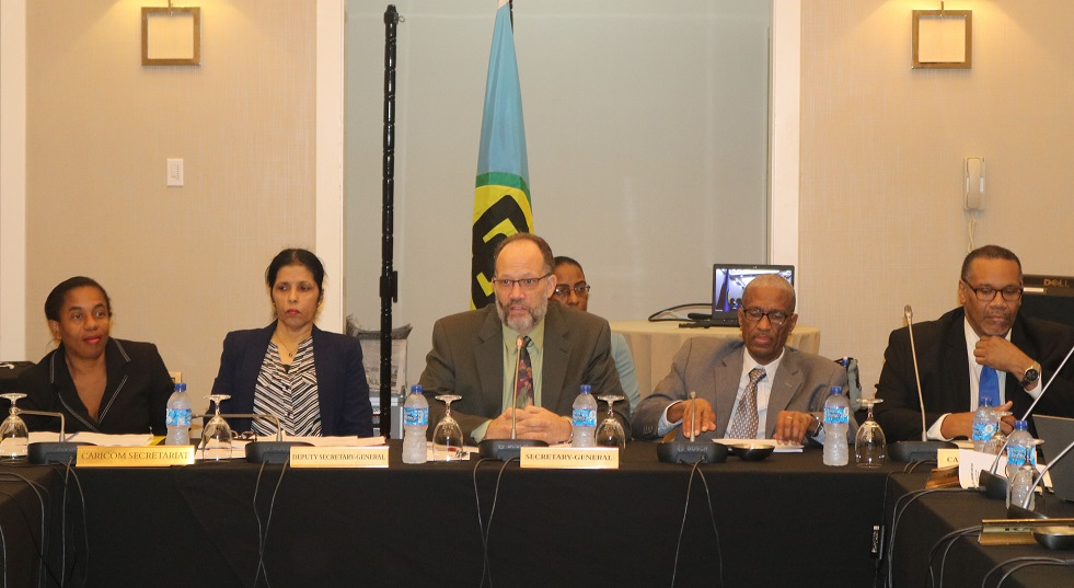 Secretary-General Ambassador Irwin LaRocque addresses Heads of Institutions