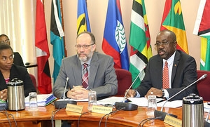 Hon Chet Greene, COTED Chairman and Minister of Foreign Affairs and International Trade, Antigua and Barbuda (3rd left) addresses the Meeting