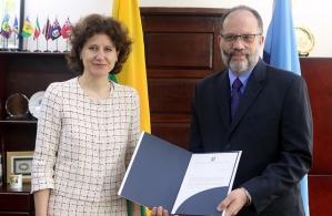 CARICOM Secretary-General Ambassador Irwin LaRocque receives Credentials of new Ambassador of Lithuania to CARICOM Audra Plepytė