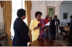 New Barbados Prime Minister Ms Mia Mottley takes the oath of office