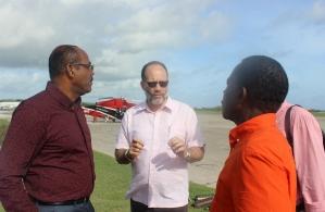 On Barbuda after Hurricane Irma - (l-r) PM Gaston Browne of Antigua/Barbuda; SG Ambassador Irwin LaRocque; CARICOM Chairman PM Dr Keith Mitchell
