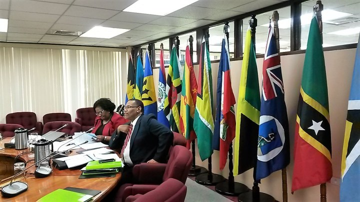 FLASHBACK: CARICOM Assistant Secretary-General, Trade and Economic Integration, Mr. Joseph Cox, and CARICOM Secretariat Deputy Programme Manager, ICT4D, Ms. Jennifer Britton at a Special Meeting of the COTED on ICT last year.