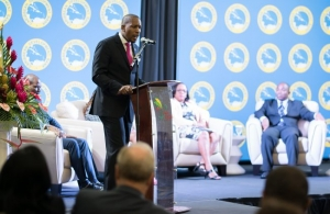 Timothy Antoine, Governor of the Eastern Caribbean Central Bank (ECCB) delivers his keynote presentation during the seminar on Building Resilient Cities, hosted by the Caribbean Development Bank (CDB) in Grenada on May 30.