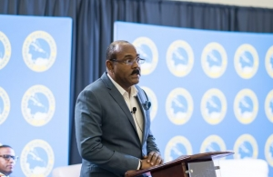 Prime Minister the Hon. Gaston Browne delivers his keynote presentation during the seminar on Air Transport Connectivity and Competitiveness, hosted by the Caribbean Development Bank (CDB) in Grenada on May 30.
