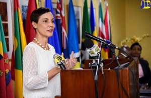 Minister of Foreign Affairs and Foreign Trade of Jamaica, Senator the Hon. Kamina Johnson Smith addresses the press briefing (Photo via JIS)